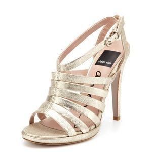Dolce Vita Strappy Gold Heels Sandals Open Toe